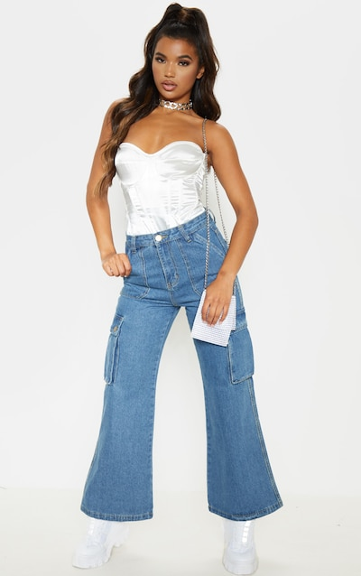Mid Wash Cargo Baggy Wide Leg Cropped Jeans