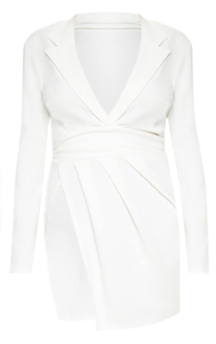 Plus White Ruched Waist Extreme Split Blazer Dress 3