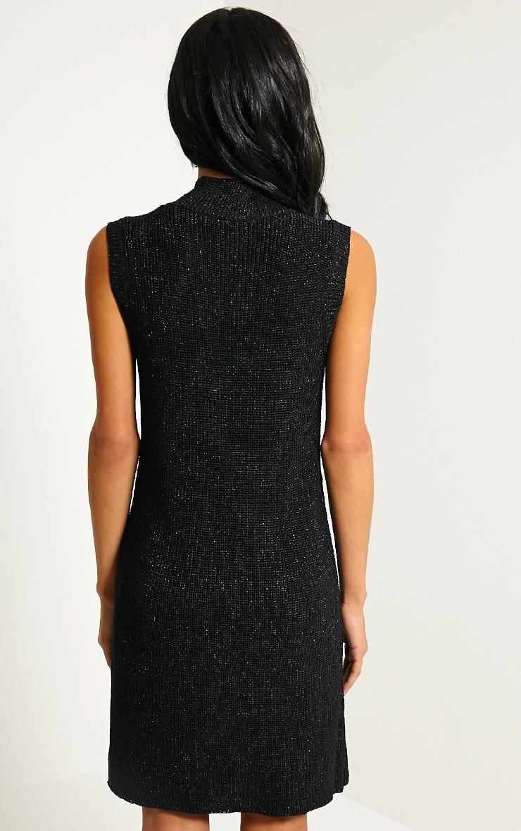 Zedanya Black Metallic Knitted Dress 2