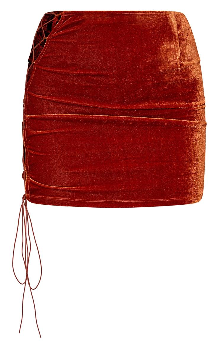 Burnt Orange Velvet Lace Up Side Mini Skirt 6