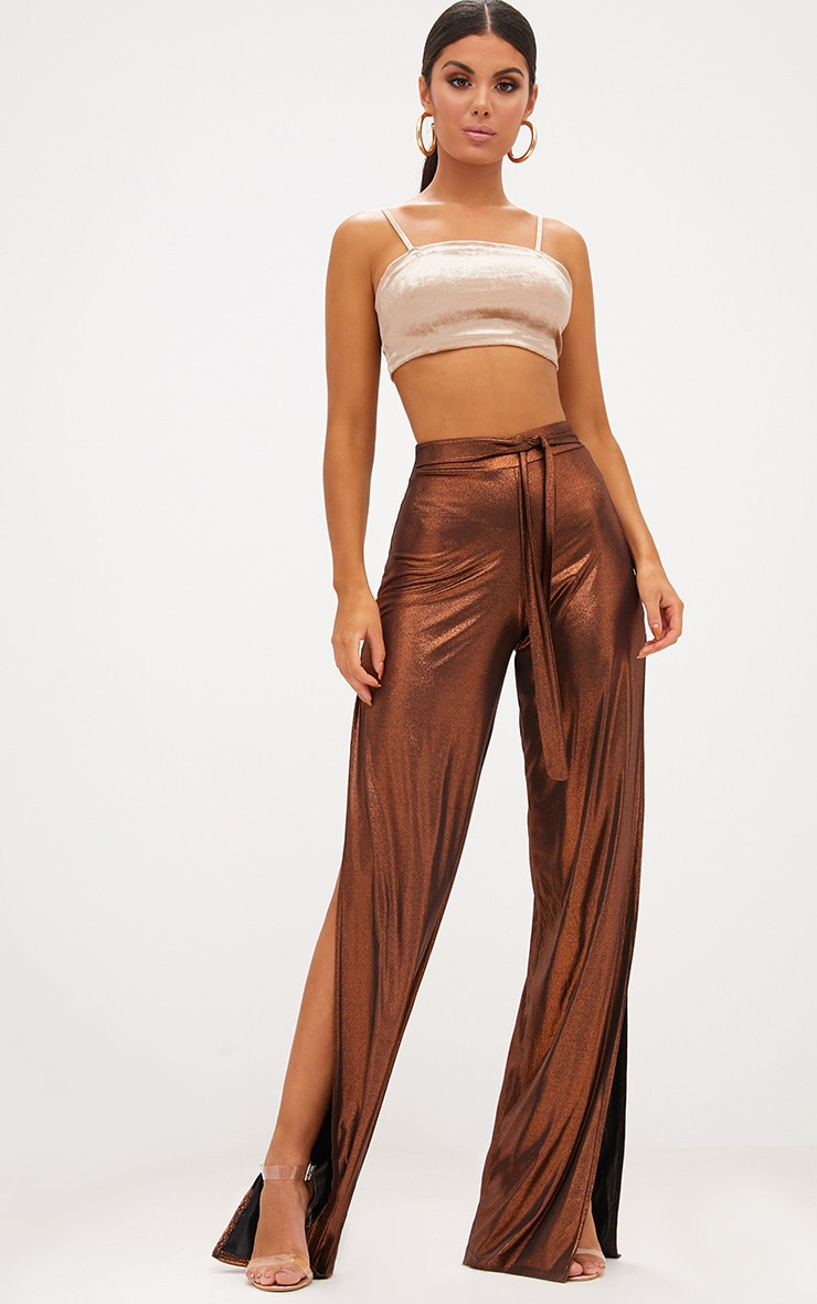 Copper Metallic Tie Waist Wide Leg Trousers 1