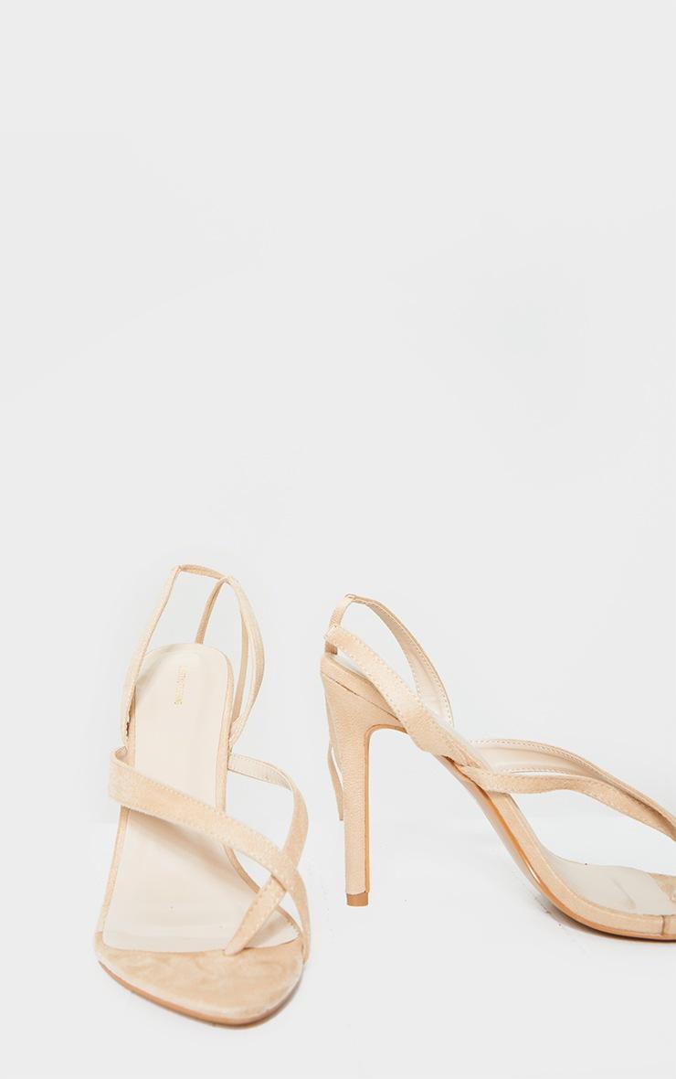 Nude Cross Toe Loop Ankle Strappy High Heels 4