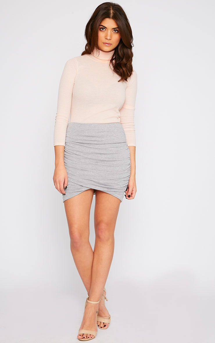 Grey Jersey Ruched Mini Skirt  1