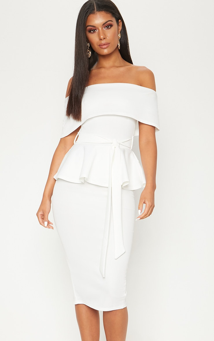 White Bardot Peplum Midi Dress 1