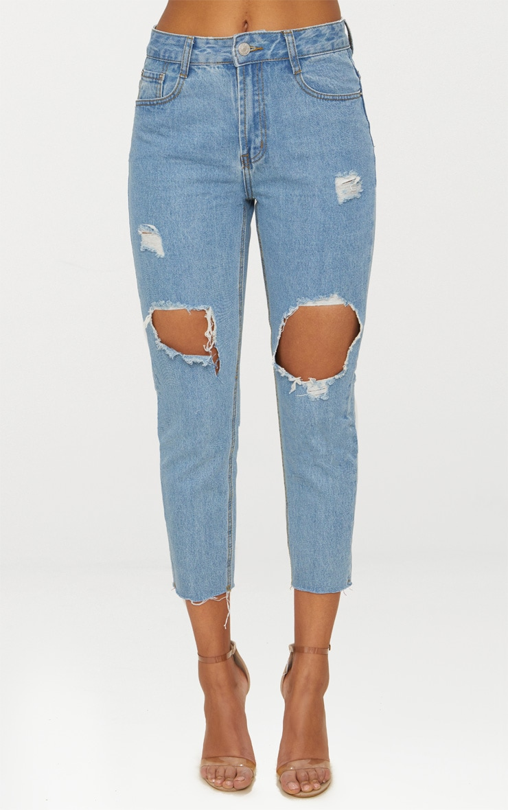 Light Wash Open Knee Raw Hem Straight Leg Jean 5
