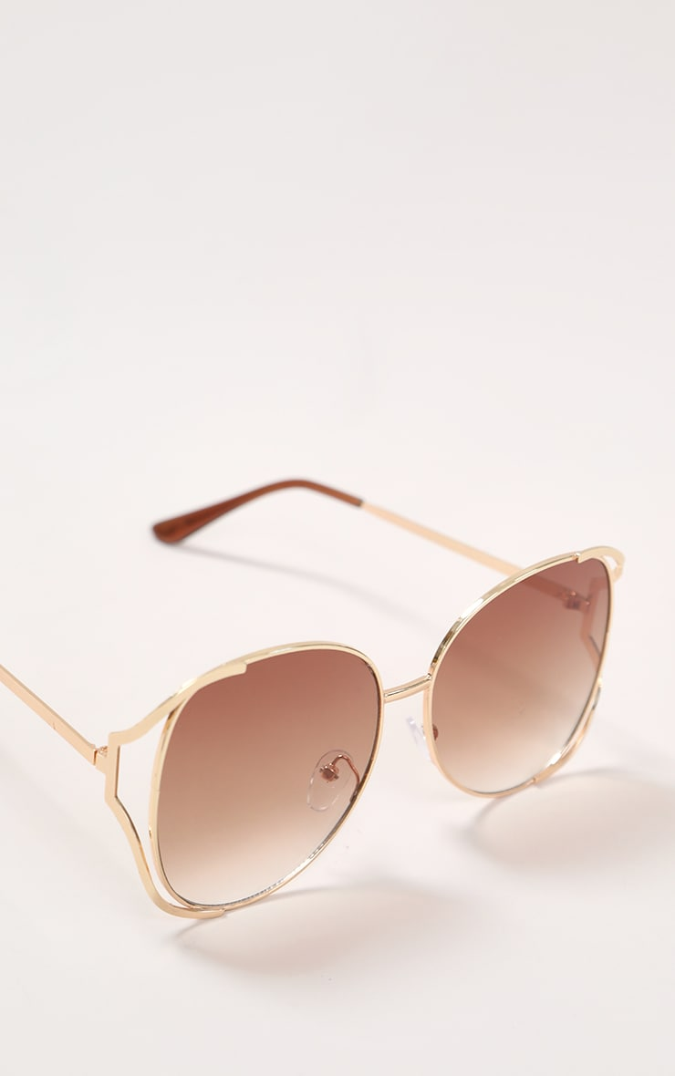 Brown Faded Lens Gold Cut Out Frame Oversized Sunglasses 3