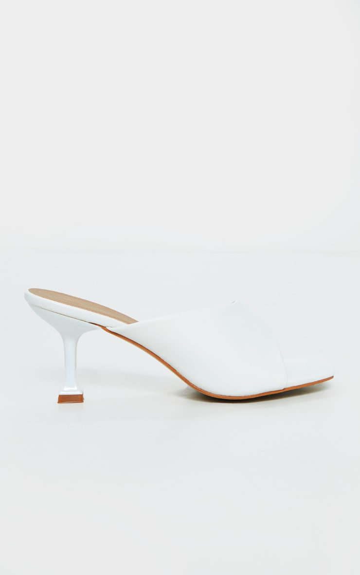 White Asymmetric Low Heel Mules 5