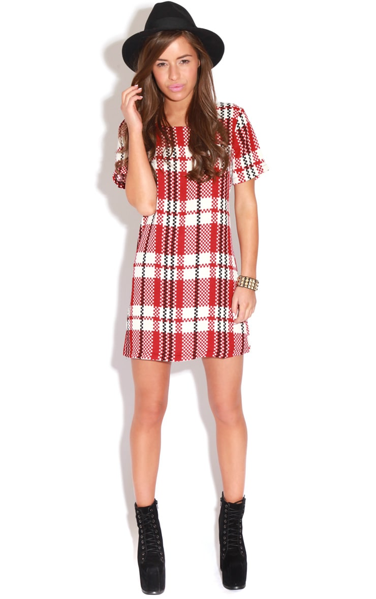 Bridie Red And White Tartan Shift Dress 2