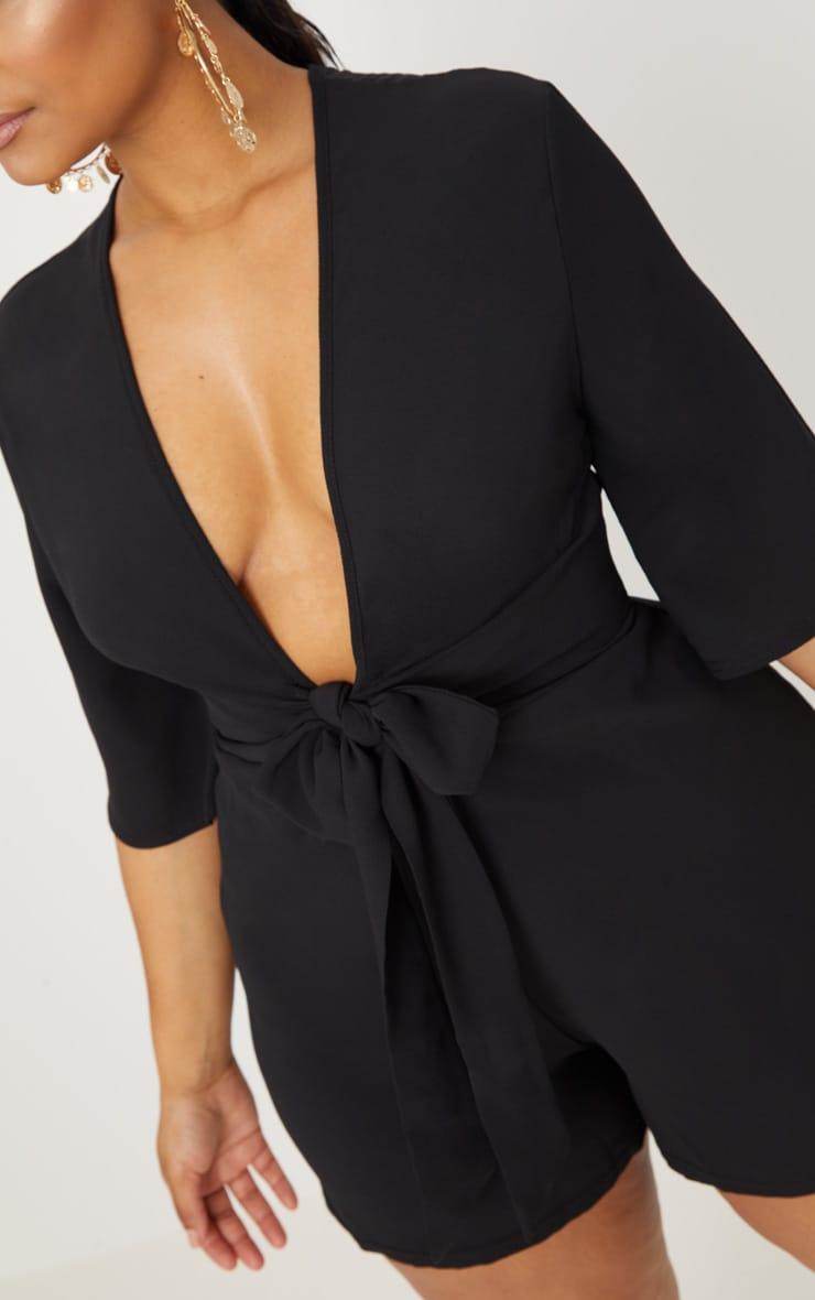 Plus Black Tie Waist Playsuit 5