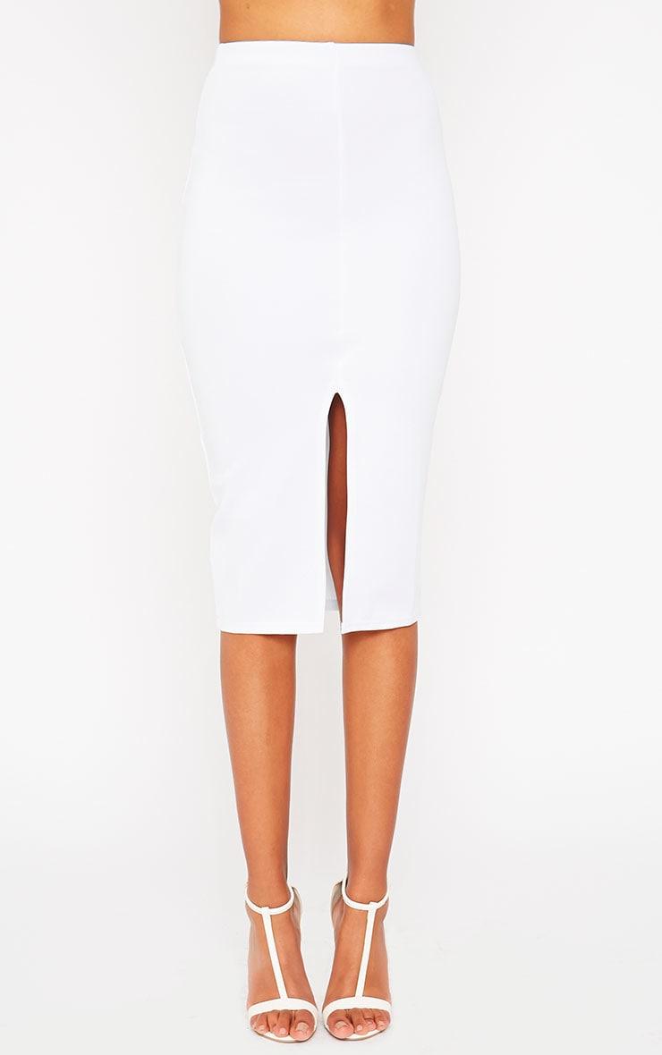 Siva White Split Front Scuba Midi Skirt 2