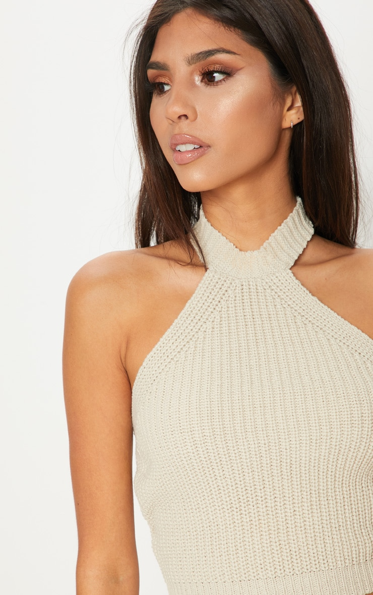 Stone High Neck Knitted Top  5