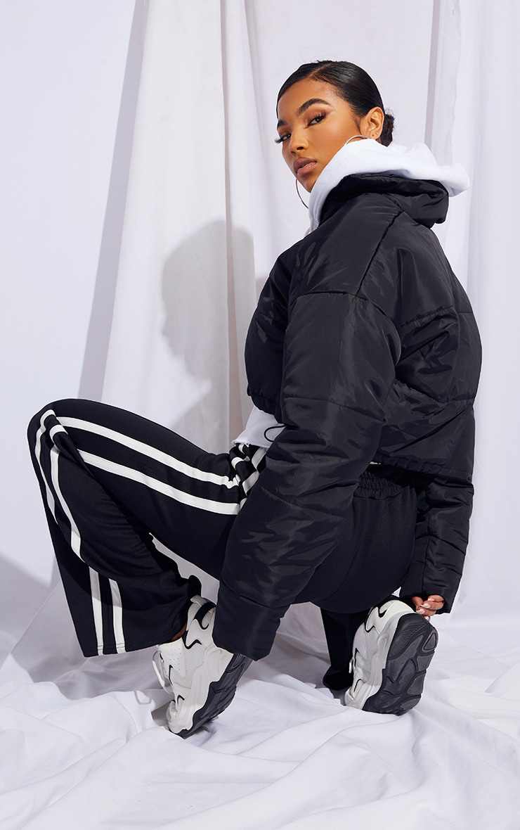 Black Nylon Super Cropped Toggle Hem Puffer Jacket 2