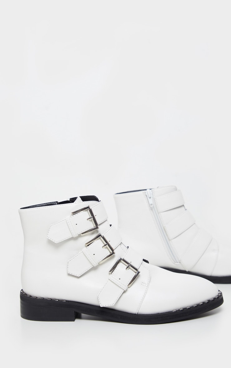 White Triple Buckle Ankle Boot 4