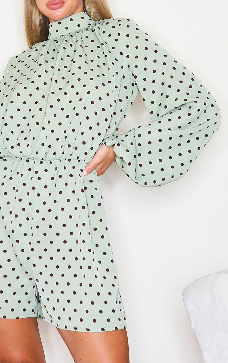 Sage Green Polka Dot High Neck Balloon Sleeve Playsuit 4