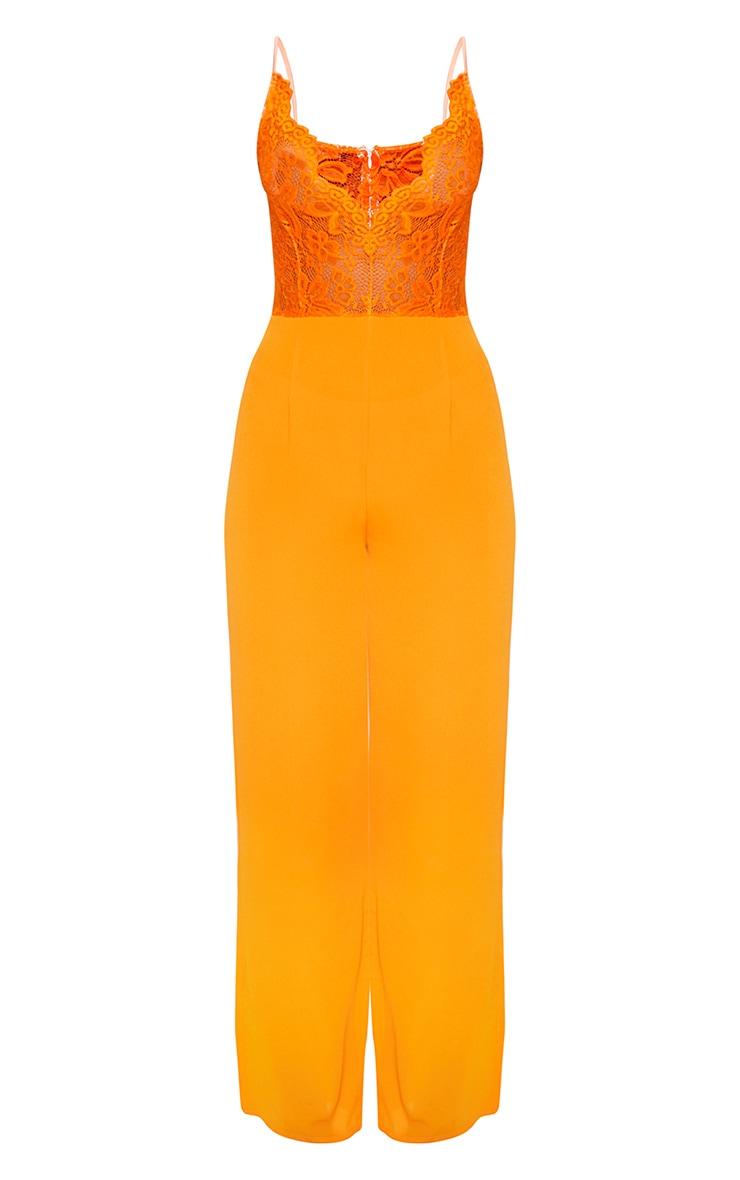 Bright Orange Lace Wide Leg Jumpsuit 3