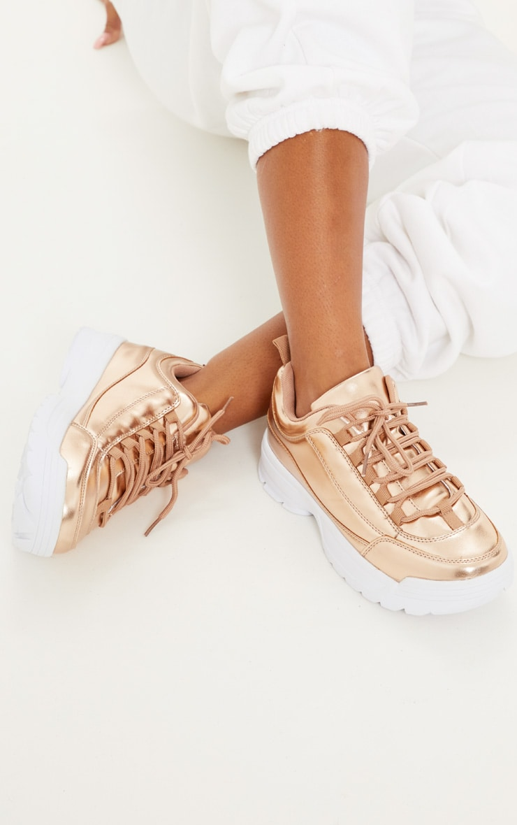 Rose Gold Chunky Cleated Sole Trainer