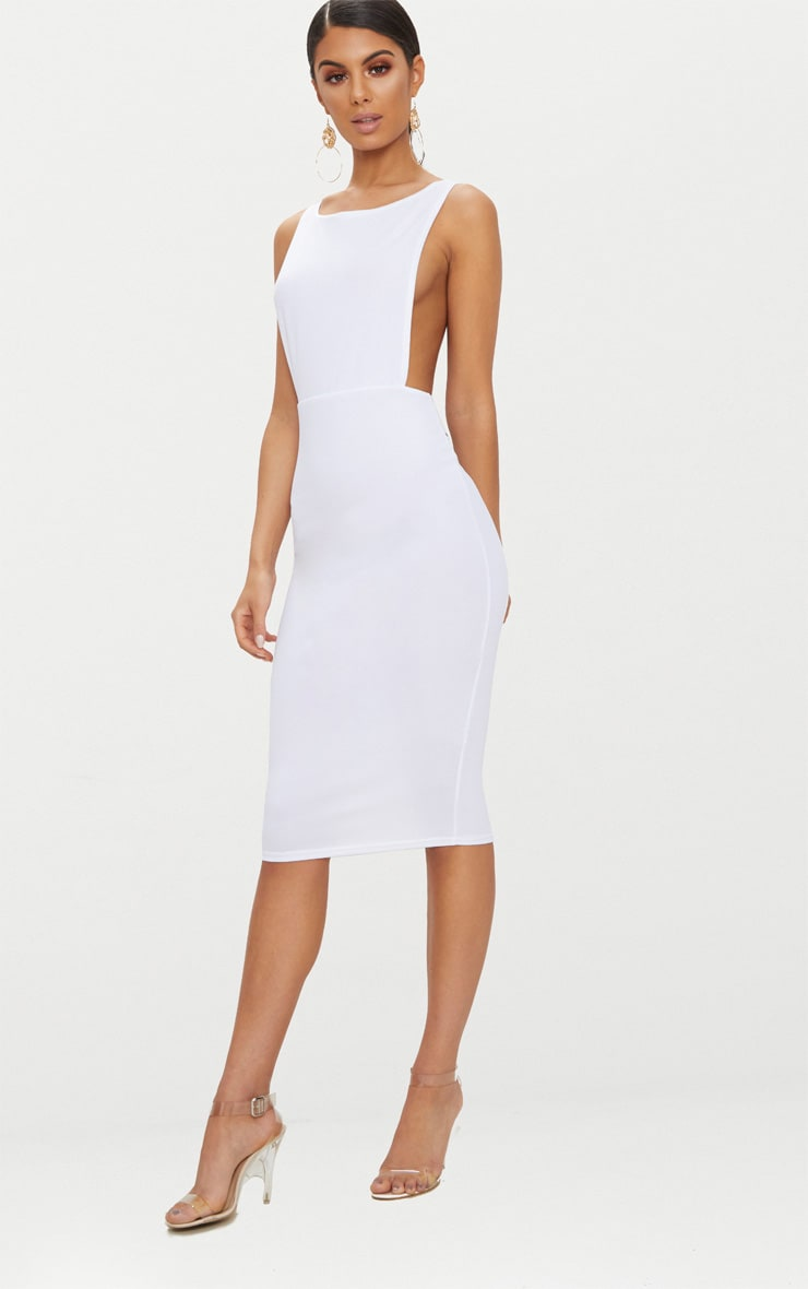 White Side Boob Midi Dress