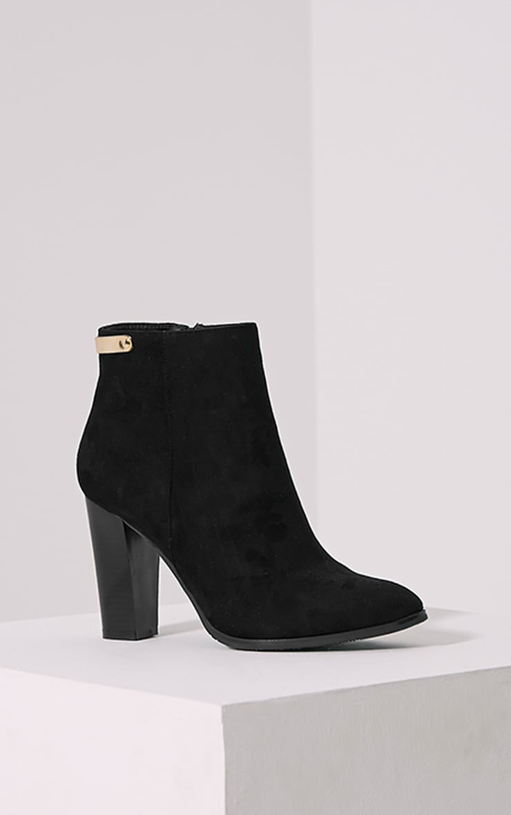 Kari Black Faux Suede Gold Plate Heel Boots 3