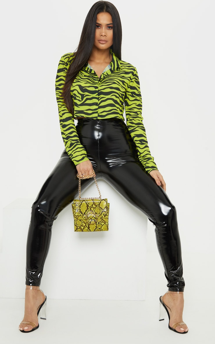 Neon Lime Zebra Printed Crop Shirt 4