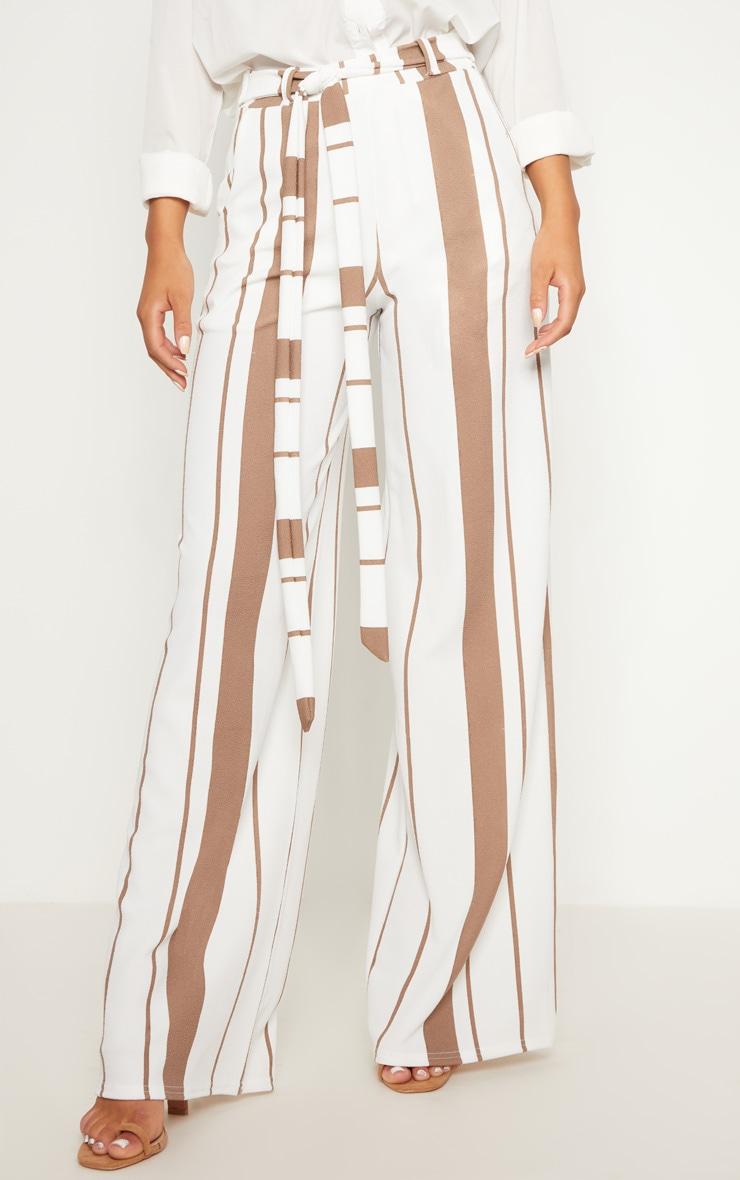 Stone Crepe Stripe Tie Waist Wide Leg Pants 2