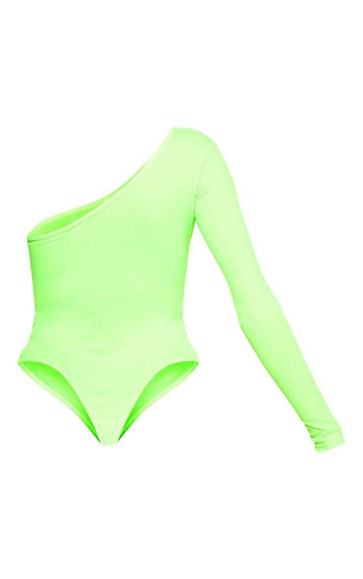Neon Lime Stretch Crepe One Shoulder Thong Bodysuit 4