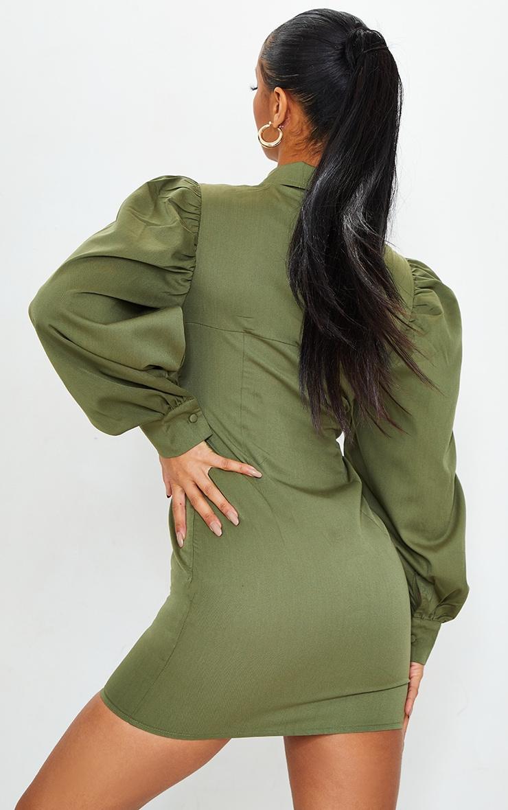 Khaki Cut Out Bust Detail Bodycon Dress 2