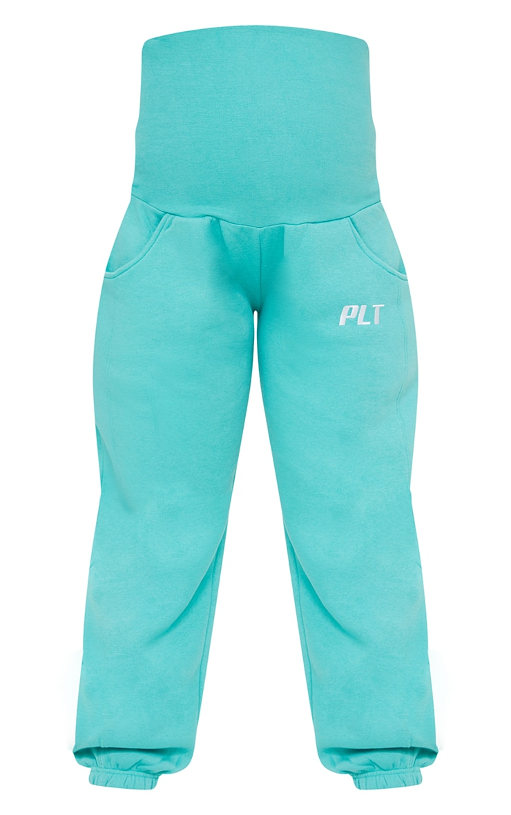 PRETTYLITTLETHING Maternity Washed Green Embroidered Joggers 5