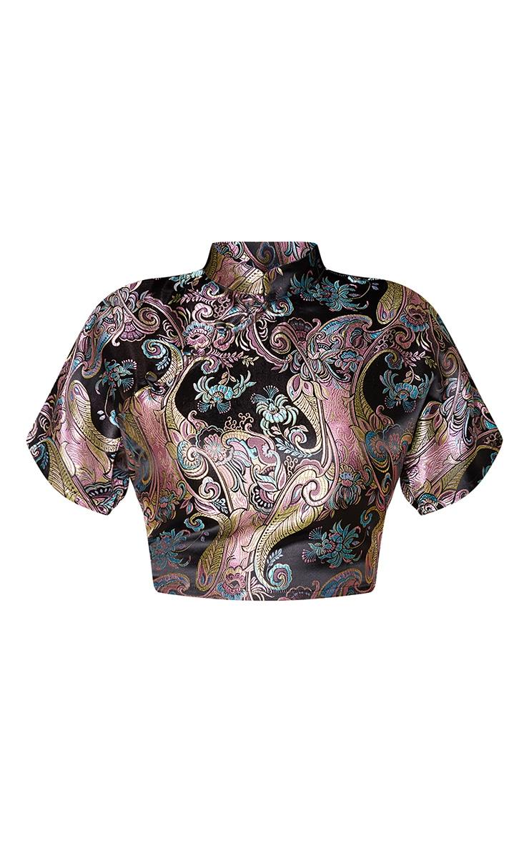Shape Black Oriental Collar Detail Crop Top 3