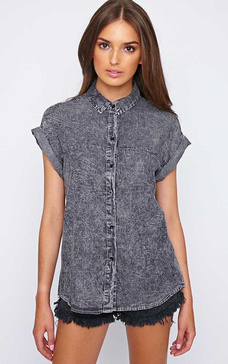 Petra Black Wash Button Up Shirt  3
