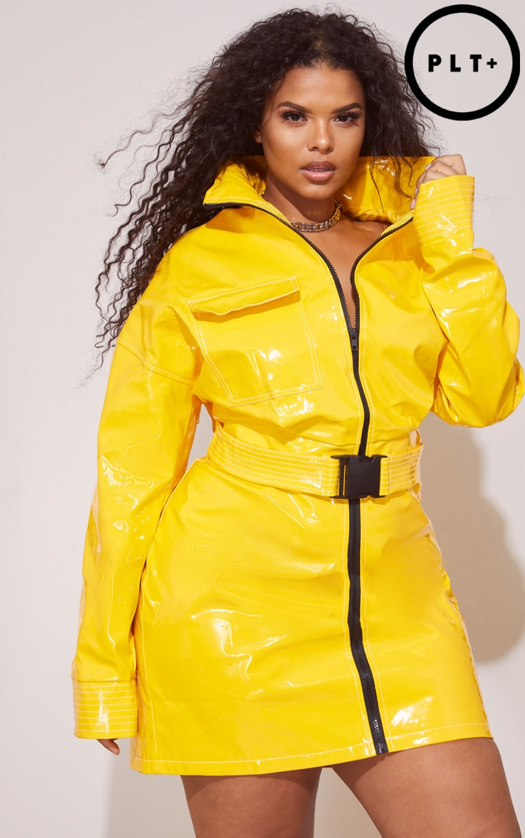 Plus Yellow Vinyl Zip Detail Mini Skirt 1