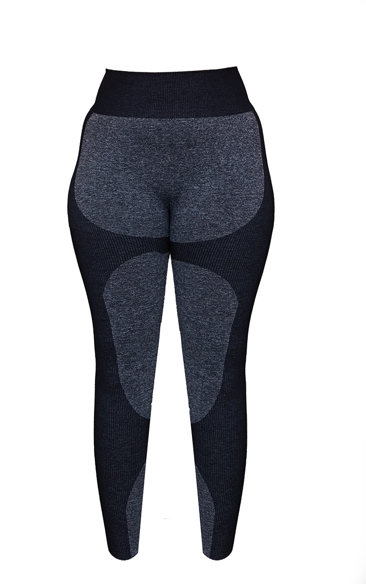 Plus Black Seamless 2 Tone Contour Leggings 5