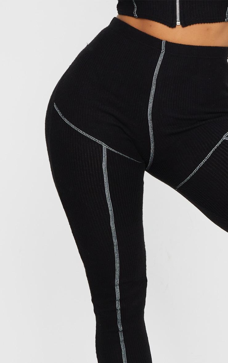 Shape Black Brushed Rib Contrast Stitch Leggings 4