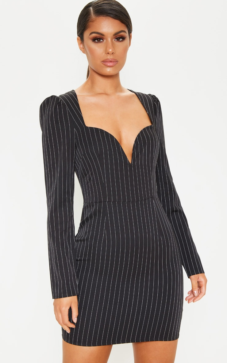 Black Pinstripe V Bar Puff Sleeve Bodycon Dress 5
