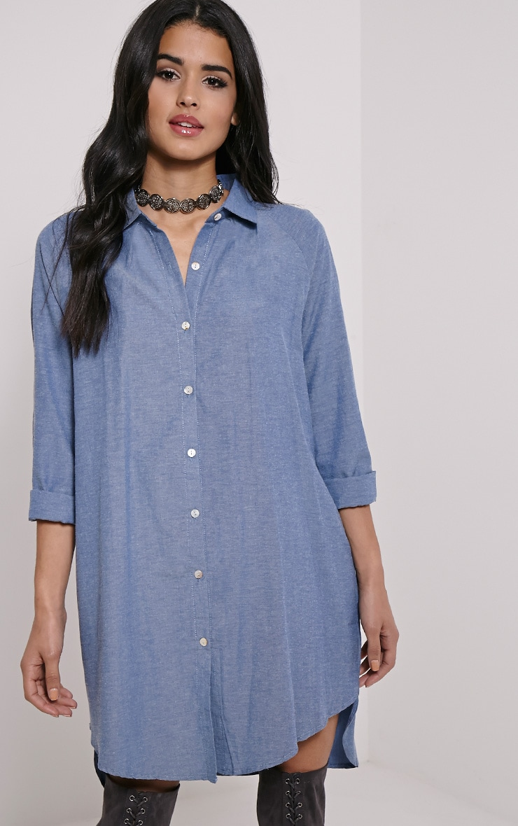 Carina Blue Oversized Denim Shirt Dress 1