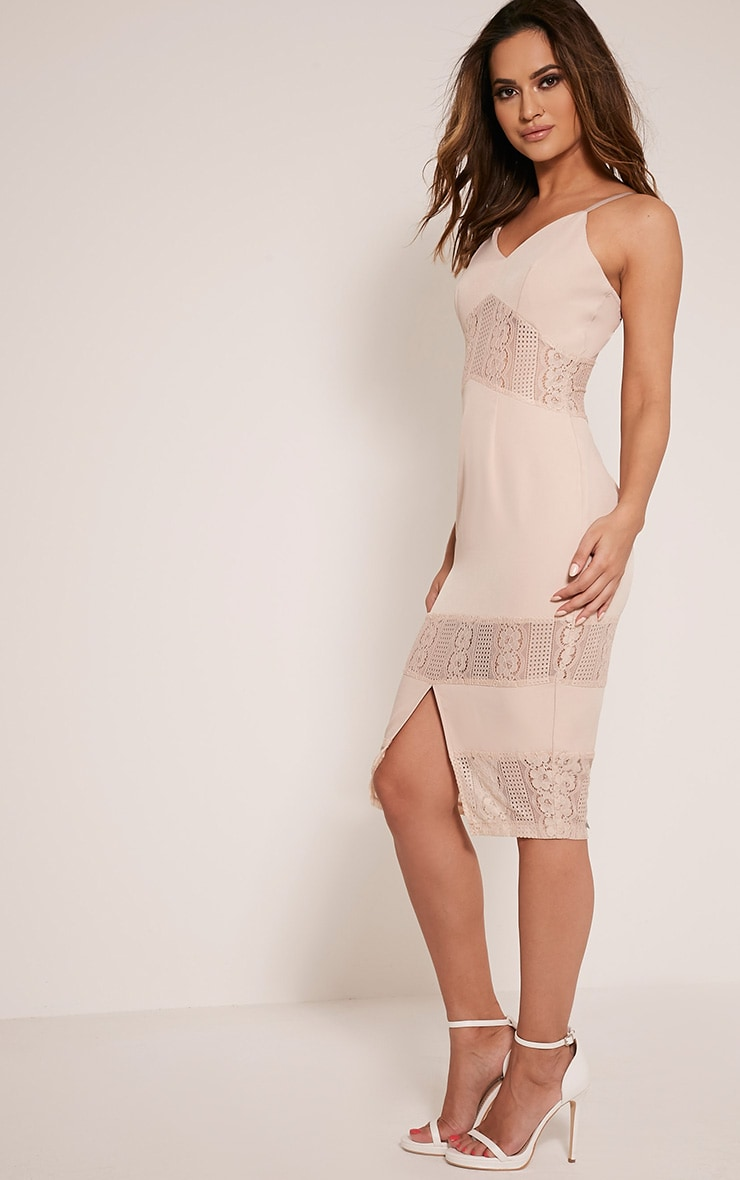 Nicky Nude Strappy Lace Panel Midi Dress 5
