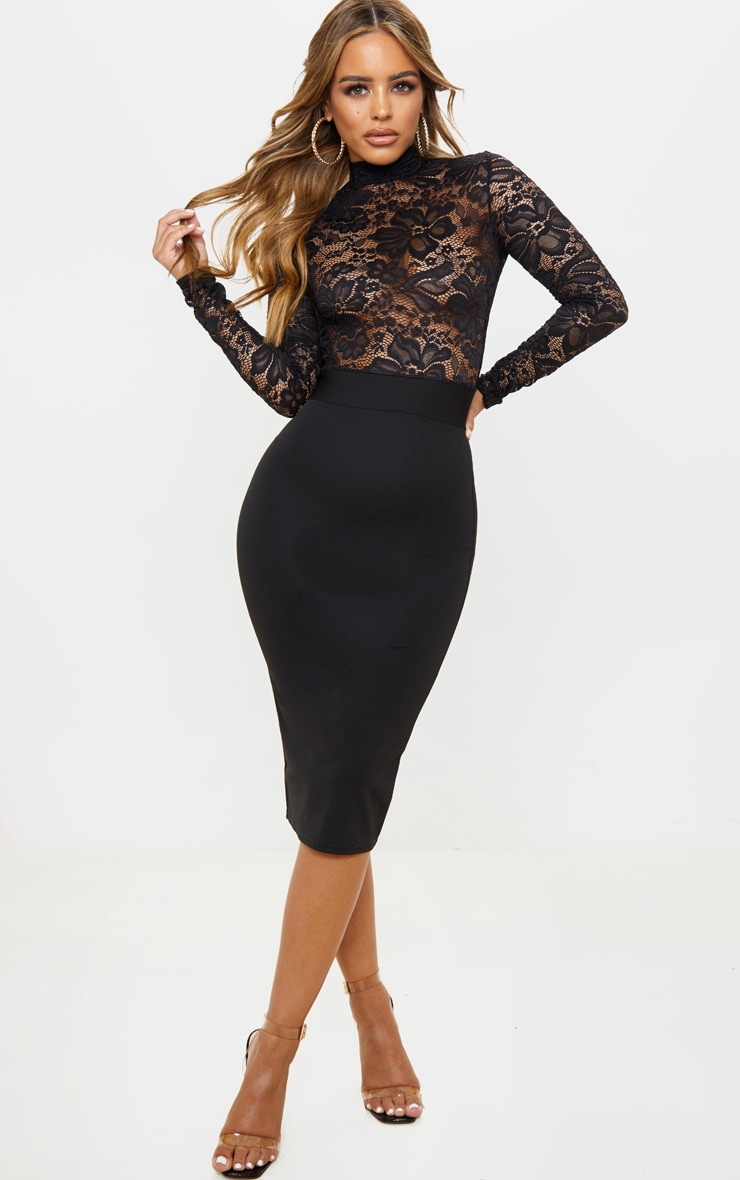 Petite Black Lace High Neck Midi Dress 1