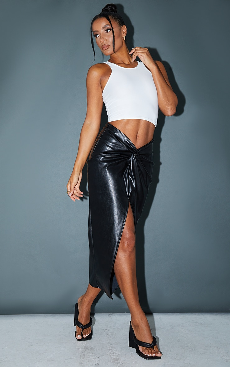 Black Faux Leather Twist Detail Front Midi Skirt 1
