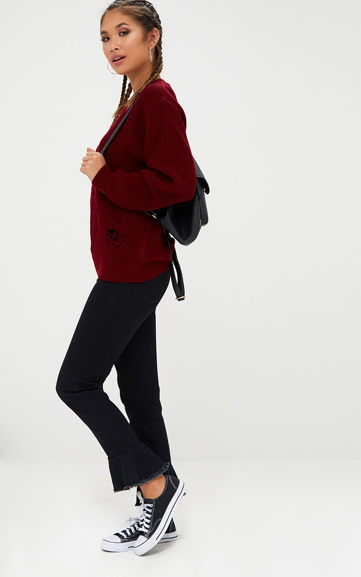 Burgundy Distressed Knitted Jumper 4