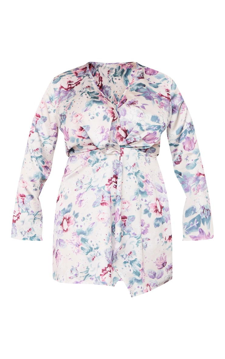 Plus Pink Floral Satin Long Sleeve Wrap Dress 5