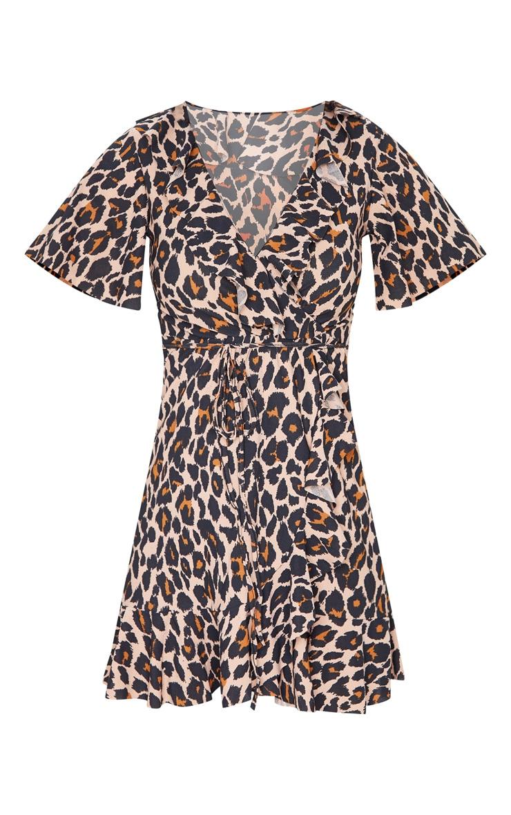 Brown Leopard Wrap Frill Detail Tea Dress 3
