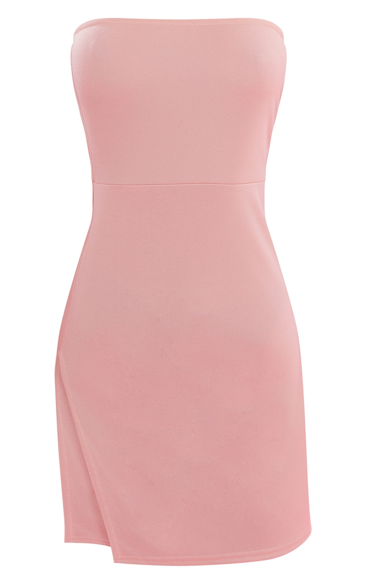 Nude Crepe Split Side Bandeau Bodycon Dress 4