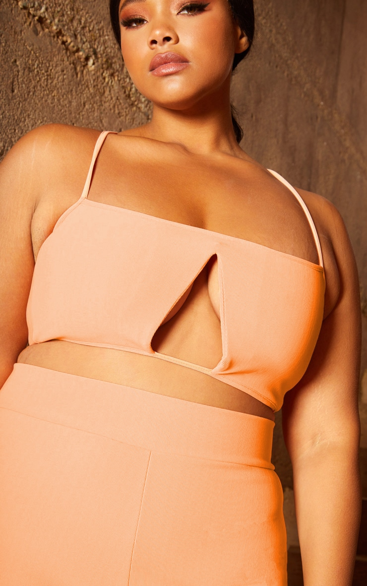 Plus Peach Second Skin Rib Strappy V Bar Crop Top 5