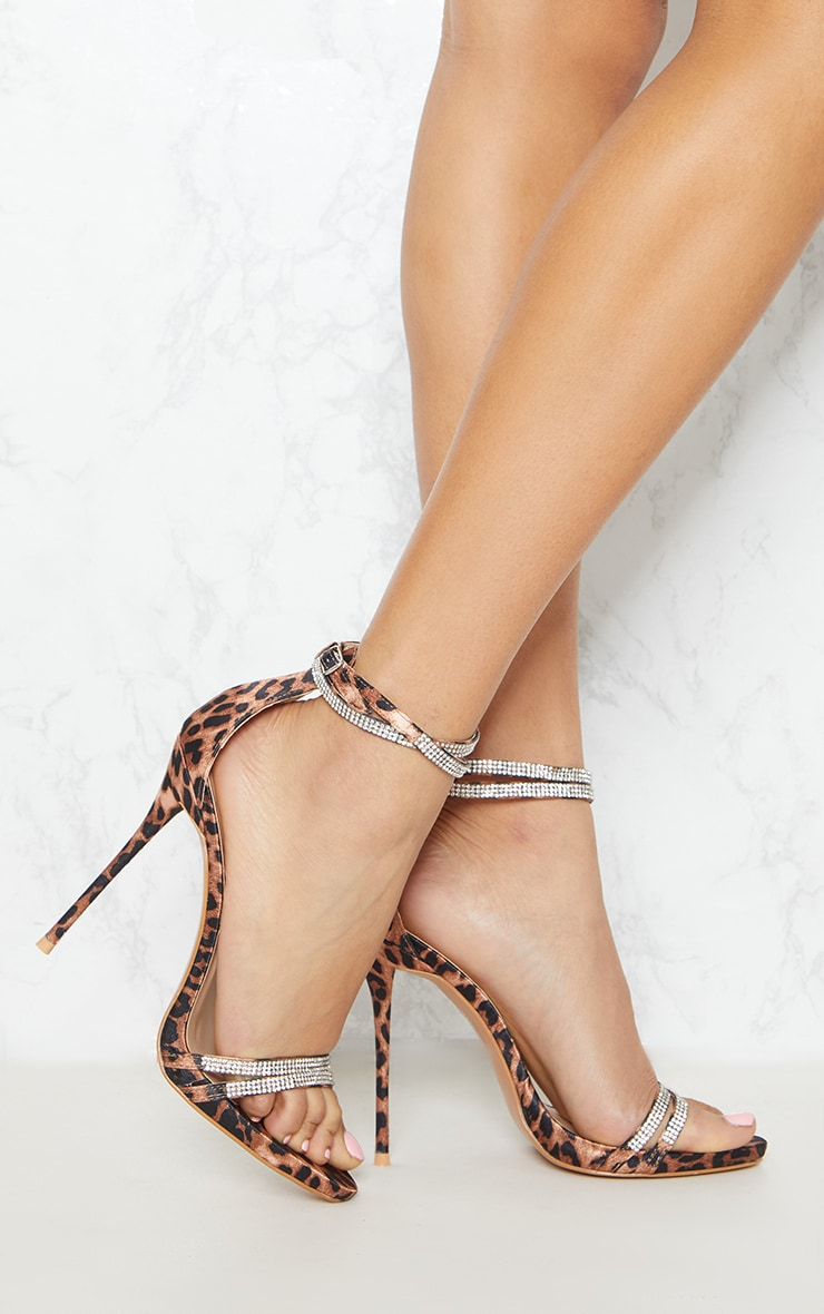 Leopard Print Diamante Jewel Strappy Sandal 1
