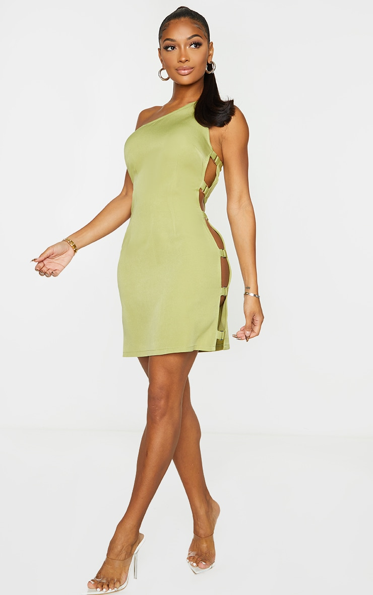 Shape Lime Woven One Shoulder Buckle Detail Bodycon Dress 3