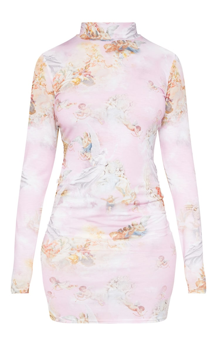 Pink Renaissance Printed High Neck Long Sleeve Bodycon Dress 3
