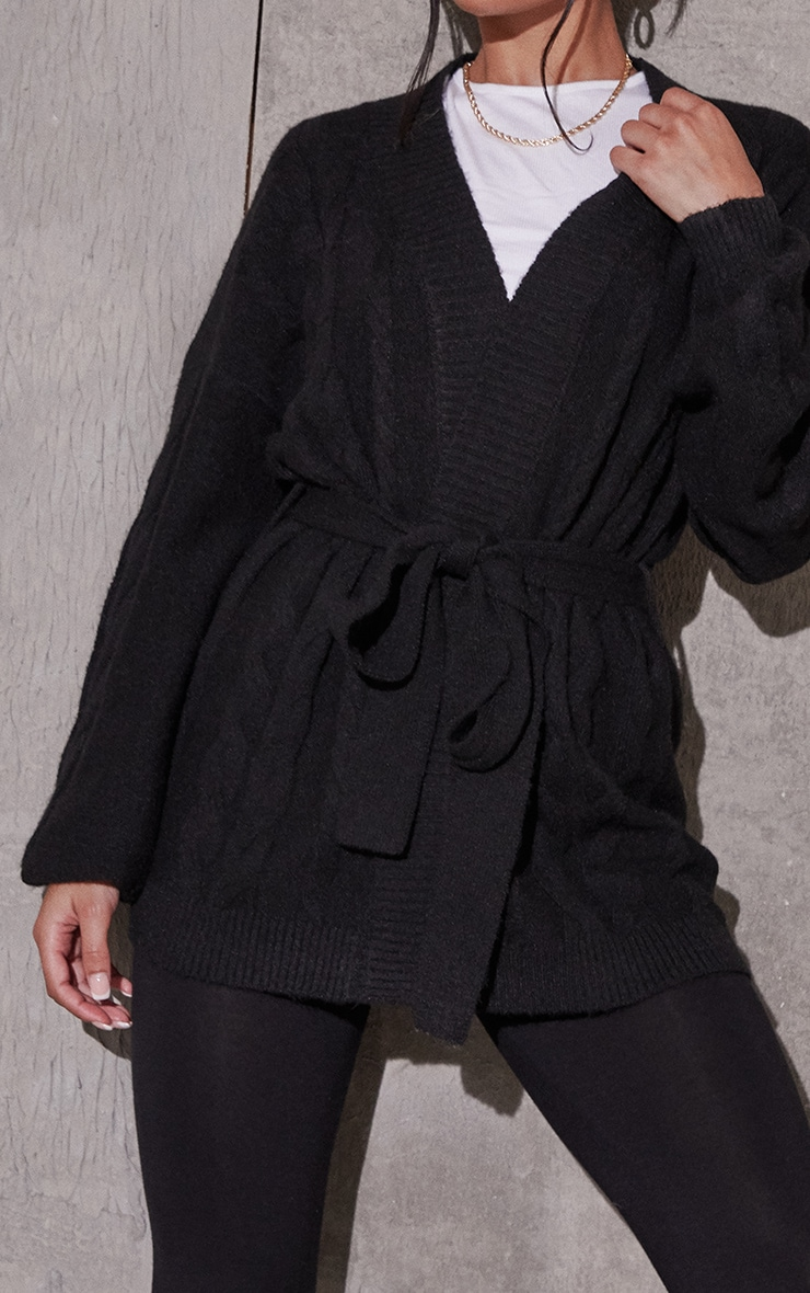 Black Recycled Cable Knit Oversized Cardigan 4