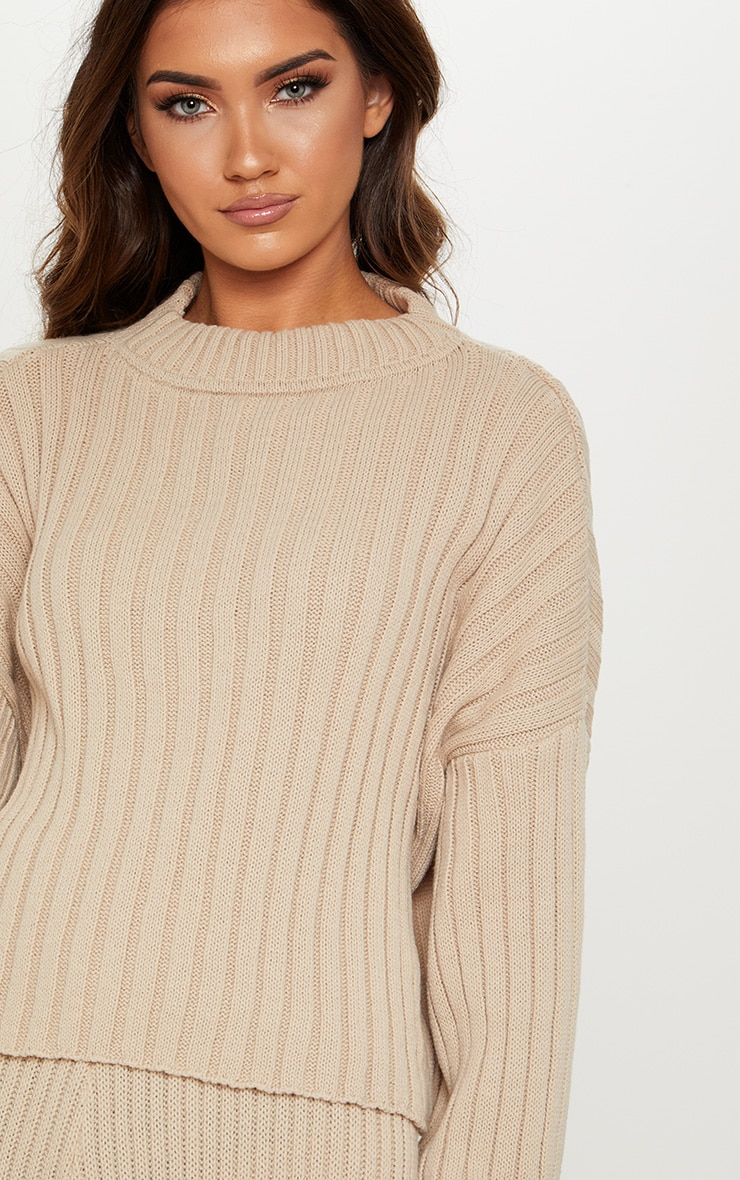 Stone Ribbed Knitted Oversized Jumper  5