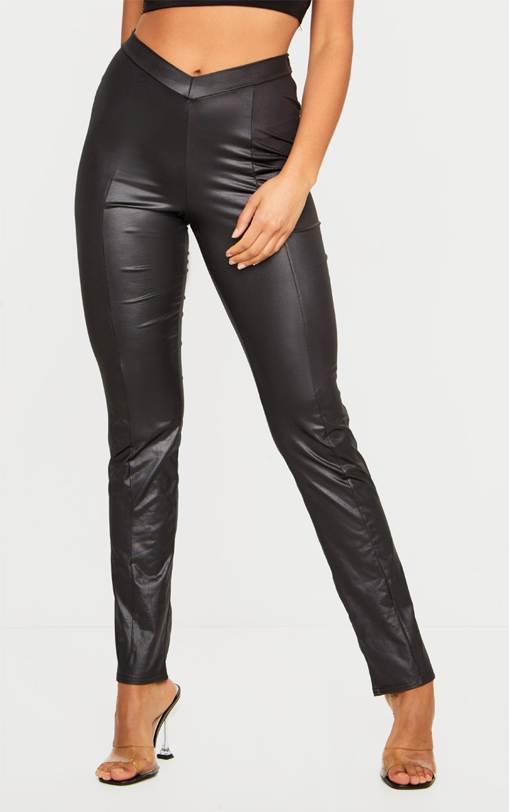Black Dip Waist Wet Look Straight Leg Trousers 3