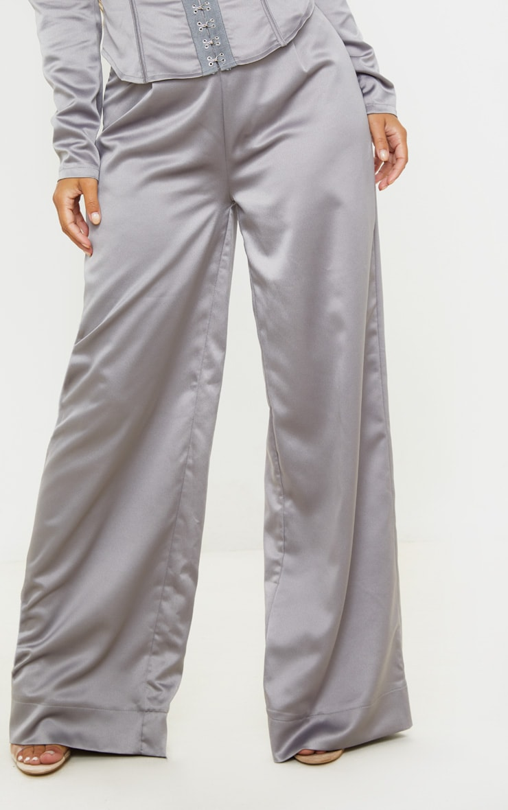 Petite Grey Satin Wide Leg Pants  2