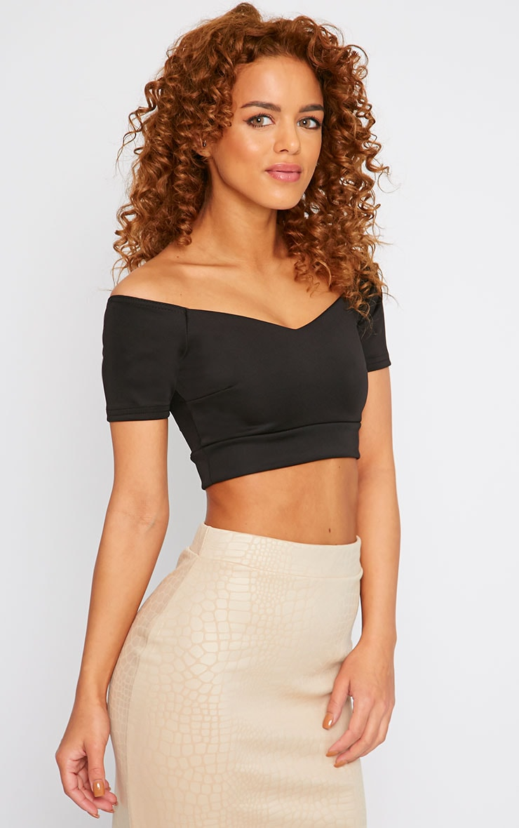 Amie Black Off Shoulder Scuba Crop Top 3